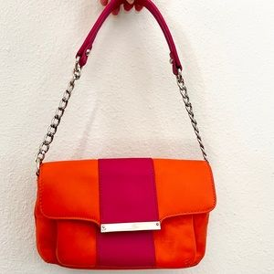 Talbots tangerine orange fuchsia flap bag